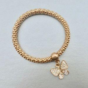 Jewelry - Rhinestone Butterfly Charm Gold Tone  Bracelet